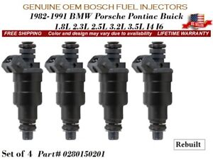 4 Fuel Injectors OEM BOSCH For 1982-1991 BMW Porsche Pontiac Buick #0280150201