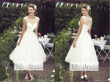 New Tea-Length Sheer Strap Bridal Wedding Dress Cocktail Prom Party Custom Size