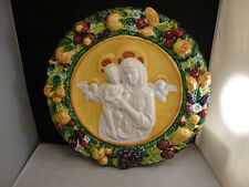 "VTG  Della Robbia  Italy 15 1/2 "" LG Madonna Wall Plaque Pottery"