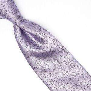 Gladson Mens Silk Necktie Lavender Flower Floral Brocade Weave Woven Tie Italy