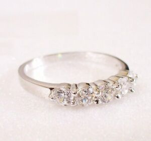 Women Classic Engagement Band Ring L White Gold Plated  Cubic Zirconia Crystal