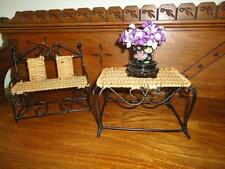Antique Doll Furniture Wicker Metal Bench Chair & Table Chinese Porcelain Vase