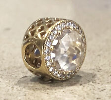 Genuine PANDORA Radiant Hearts Openwork Silver Charm 14k Gold Plated 791725CZ