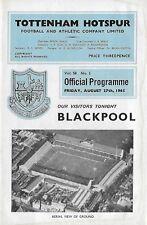 Football Programme>TOTTENHAM HOTSPUR v BLACKPOOL Aug 1965