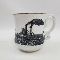Vintage Side-Wheeler Steam Ship Mustache Mug or Shaving Mug Classic Riverboat