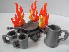 Playmobil Western/Pirate/Camping: feu de camp avec poêle à frire, CARAFE et TASSES NEUF