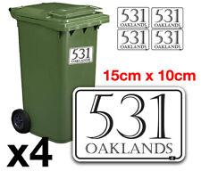 4 X Waterproof Vinyl Wheelie Bin House Numbers Road Street Name Stickers Sign A6