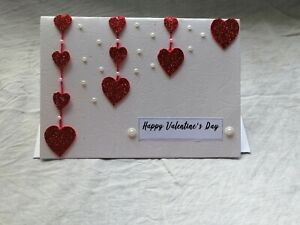 Handmade Valenting's Day Card With Heart and Perls  Nice Simple Card Design
