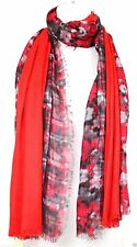 COLLECTION XIIX Scarf Wrap  72 x 36 Double Sided  Floral Plaid Red NWT $38