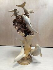 5 Handcarved Wooden Dolphins On Driftwood Sculpture