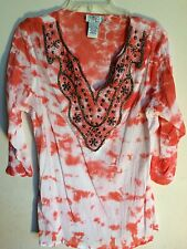 OSO CASUALS..BLOUSE..L..ORANGE TYE DYE WITH BLING ..COTTON..SHIRT..3/4 SLEEVES