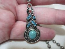 "Silver Tone Acrylic Turquoise Colored Pendant Necklace 28"" Faceted Ball Chain"