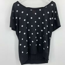 Joe Fresh Black White Polka Dot Top Blouse Women's Fitted XL