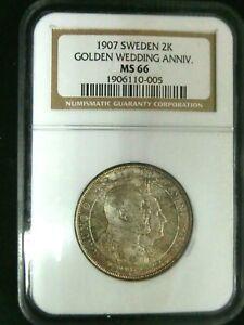 NGC MS66-Sweden 1907 Golden Wedding Anniv. Silver 2 Kronor Super GEMBU Scarce