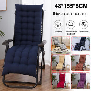 """61"""" Deck Chair Cushion High back Lounge Tufted Chaise Padding Indoor Recliner"""