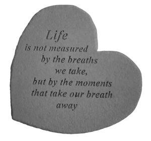 Heart Shape Loved One Memorial Garden Stone Grave Plaque Take Breath Away