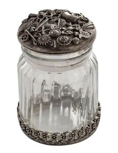 Victorian Trading Co Glass & Pewter Sewing Notions Button Jar w/ Lid