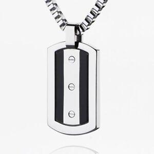 """Titanium Necklaces Mens Titanium Necklace Pendants Black Strips Pendant 22"""""""