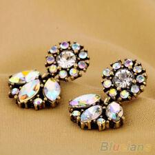 Splendid Crystal Dangle Earrings Bohemian Luxury Leaves Shaped Rhinestone Studs