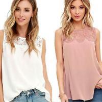 Womens Chiffon Lace Sleeveless Shirt Loose Fashion Blouse Casual Tank Tops Vest