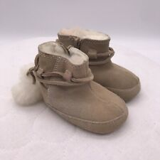 Ralph Lauren infant girl's toddler size 1 faux fur lined boots booties beige