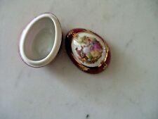 """Antique Limoges China Miniature Egg Shaped Trinket Box - 1-1/4""""  - Burgunday"""