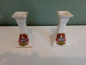Vintage Pair of British Manufacture Crested Ware Candlesticks