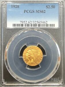 PCGS MS62 1928 $2.5 Indian Head Gold Coin.! Select BU.!