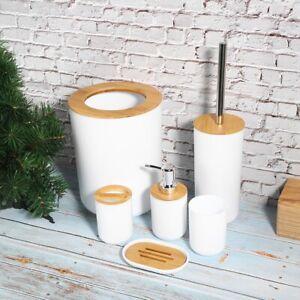 6X Bathroom Accessories Set Bin Toothbrush Tumbler Holder Soap Dish Dispenser UK