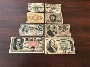 8 PIECE MIXED PAPER GROUP LOT of IMPERFECT FRACTIONAL CURRENCY