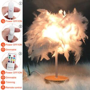 Feather Shade USB Lamp Night Desk Light Table Bedside Bedroom Retro Deco