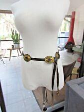 Vtg BRASS Concho Dress BELT Brown Western Cowgirl Leather Gold M L boho fringe