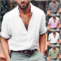 Summer Mens Cotton Linen T Shirt Henley Tops Casual Loose V Neck Long Sleeve Tee