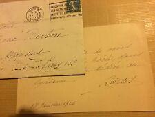 Carte autographe actrice Julia Bartet auteur Berton autographe manuscript Proust