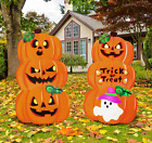 2 Stacked Metal Halloween Lawn Yard Stake Signs for Outdoor Decorations, Pumpkin