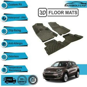 3D Molded Floor Mats Liner Interior Protector Fit for Fiat 500X 2014-UP, Black