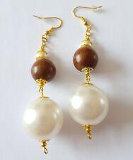 New Handmade Wood Gold Glass Pearl Acrylic Round Beaded Dangle Drop Earrings