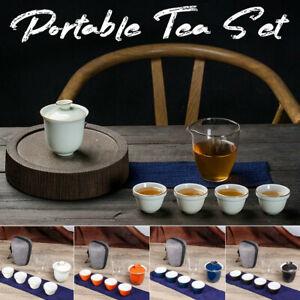 Chinese Kung Fu Tea Set Ceramic Teapot Cups Portable Travel Bag Gongfu