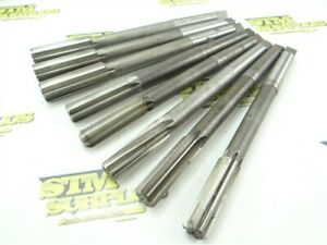 """LOT OF 8 HSS+CARBIDE TIPPED 2MT CHUCKING REAMERS 23/32"""" TO 29/32"""" DIA UNION"""