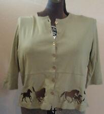 Christopher Banks Khaki Green Top Light Jacket Running Horses L Cotton Button