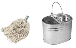 Heavy Duty Metal Galvanized Mop Bucket + Cotton Floor Mop Head Set Strong 14 LTR