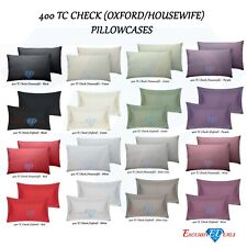 2 x Oxford / Housewife Sateen Stripe Check Pillow Case Covers, 400TC 100% Cotton