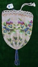 SALE Antq Vtg Micro Beaded Victorian Pansy Reticule Purse Handbag REDUCED
