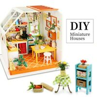 Miniature Room Dollhouse with Furniture LED Kitchen 1:24 Gift Toy for Kids Girls