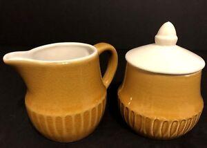 Vintage Set Yellow Mustard Stoneware Creamer & Sugar Bowl
