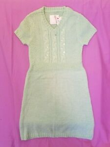 NEW JUSTICE MINT SEQUIN SWEATER DRESS SZ 10 GLITTER KNIT V NECK SHORT SLEEVE