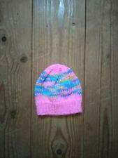 New hand knitted bright pink multi baby beanie hat size newborn