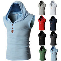 Men's Sleeveless Hoodie Vest Sport Muscle Fitness Hooded Coat Jacket Tank Top
