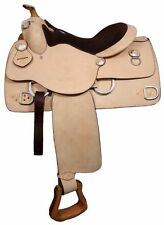 """Double T 16"""" TRAINING SADDLE Double Rigged Premium Leather FQHB Suede Seat"""