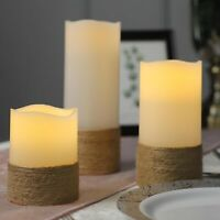 """3 NATURAL 4"""" 6"""" 8"""" tall LED Pillar Candles Lights Remote Control Centerpieces"""